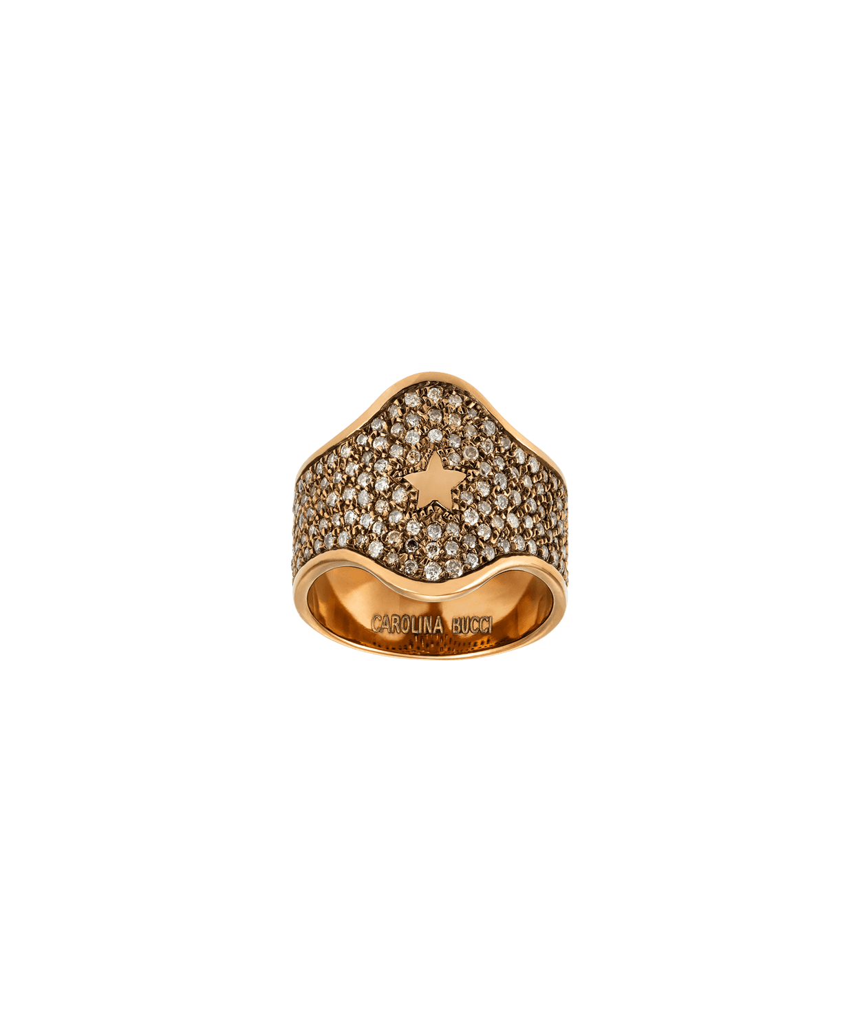 Carolina Bucci Champagne Diamond Pavé Shield Ring