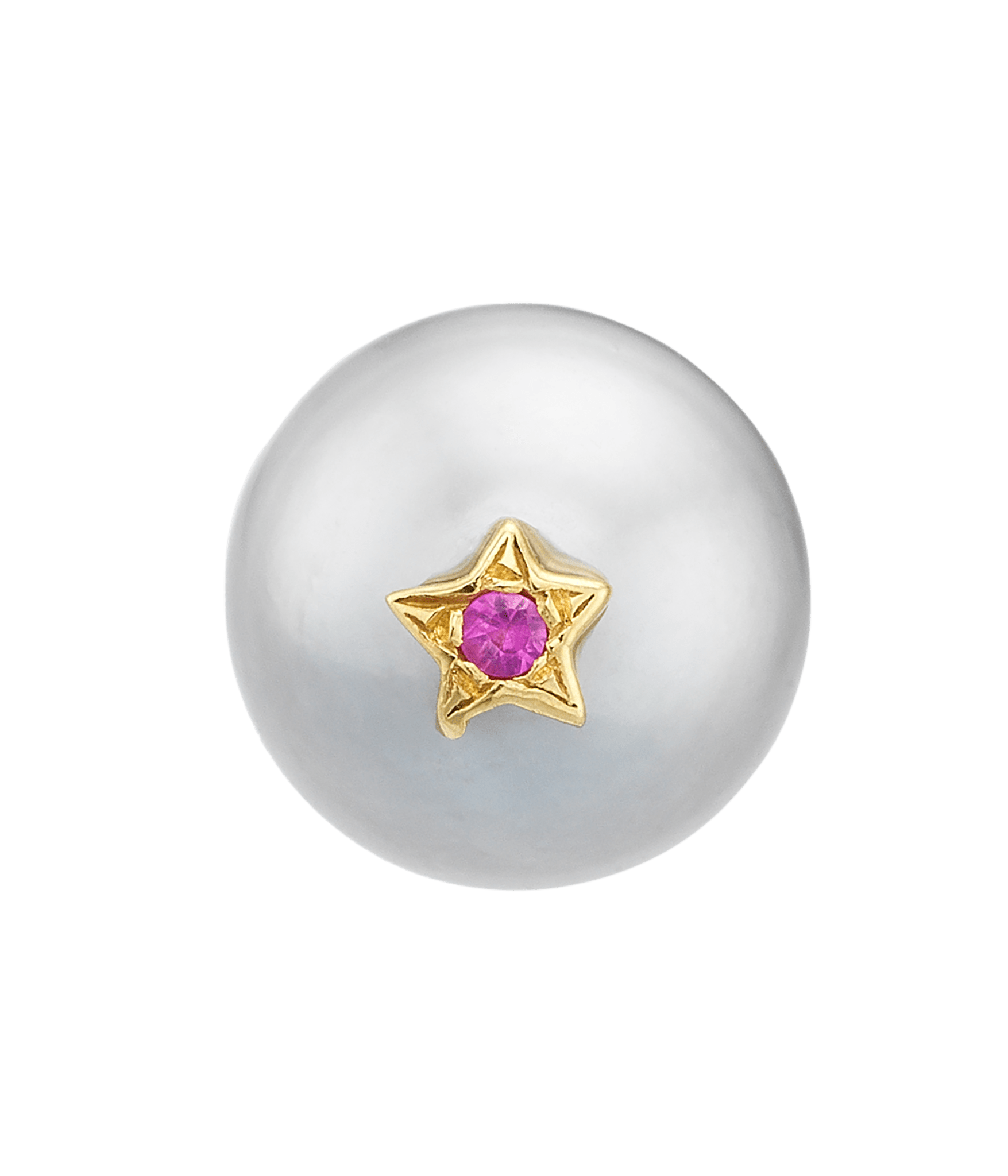 Carolina Bucci Superstellar Pearl Stud with Small Pavé Star