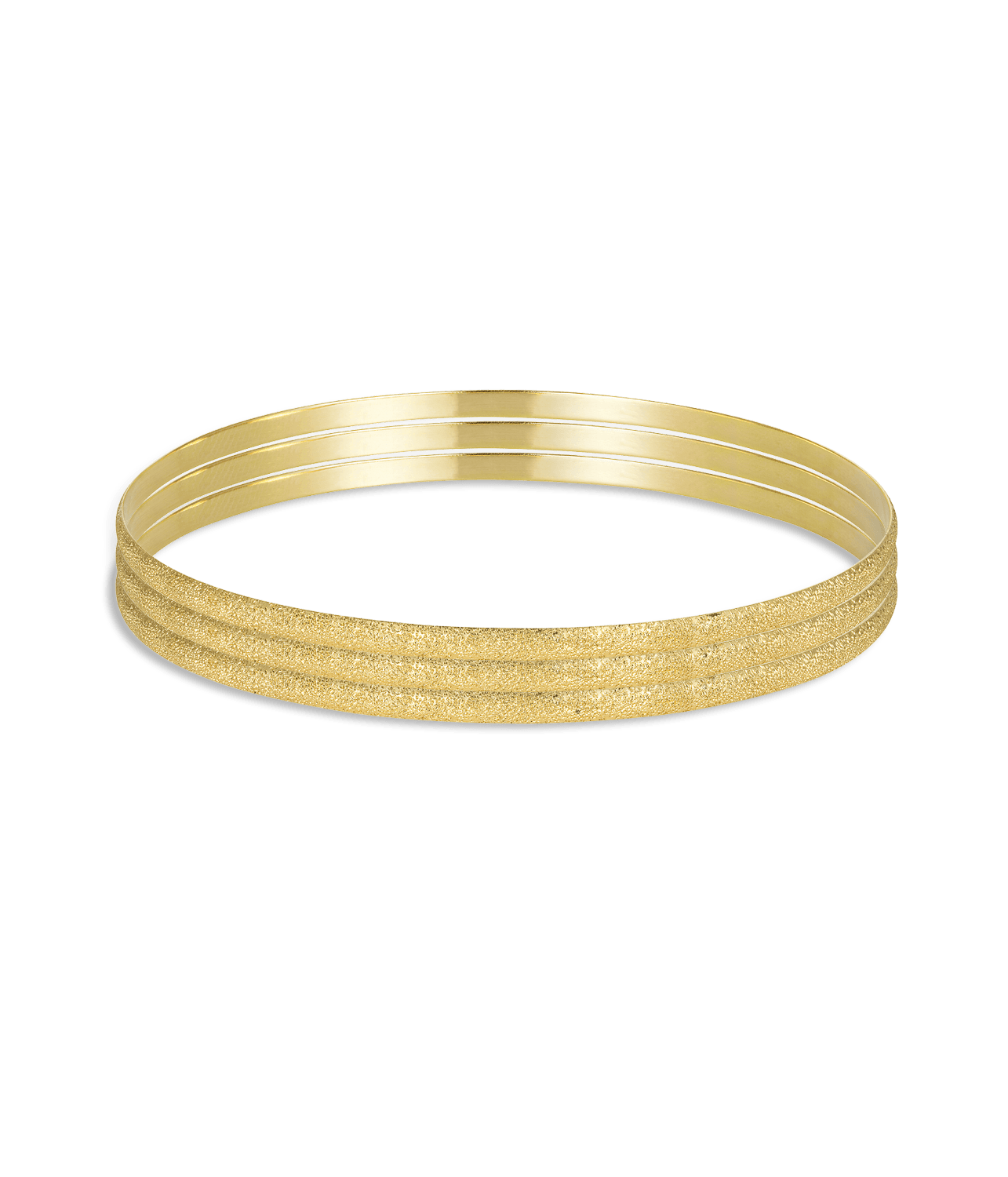 Carolina Bucci Florentine Finish Flat Bangle Set Yellow Gold