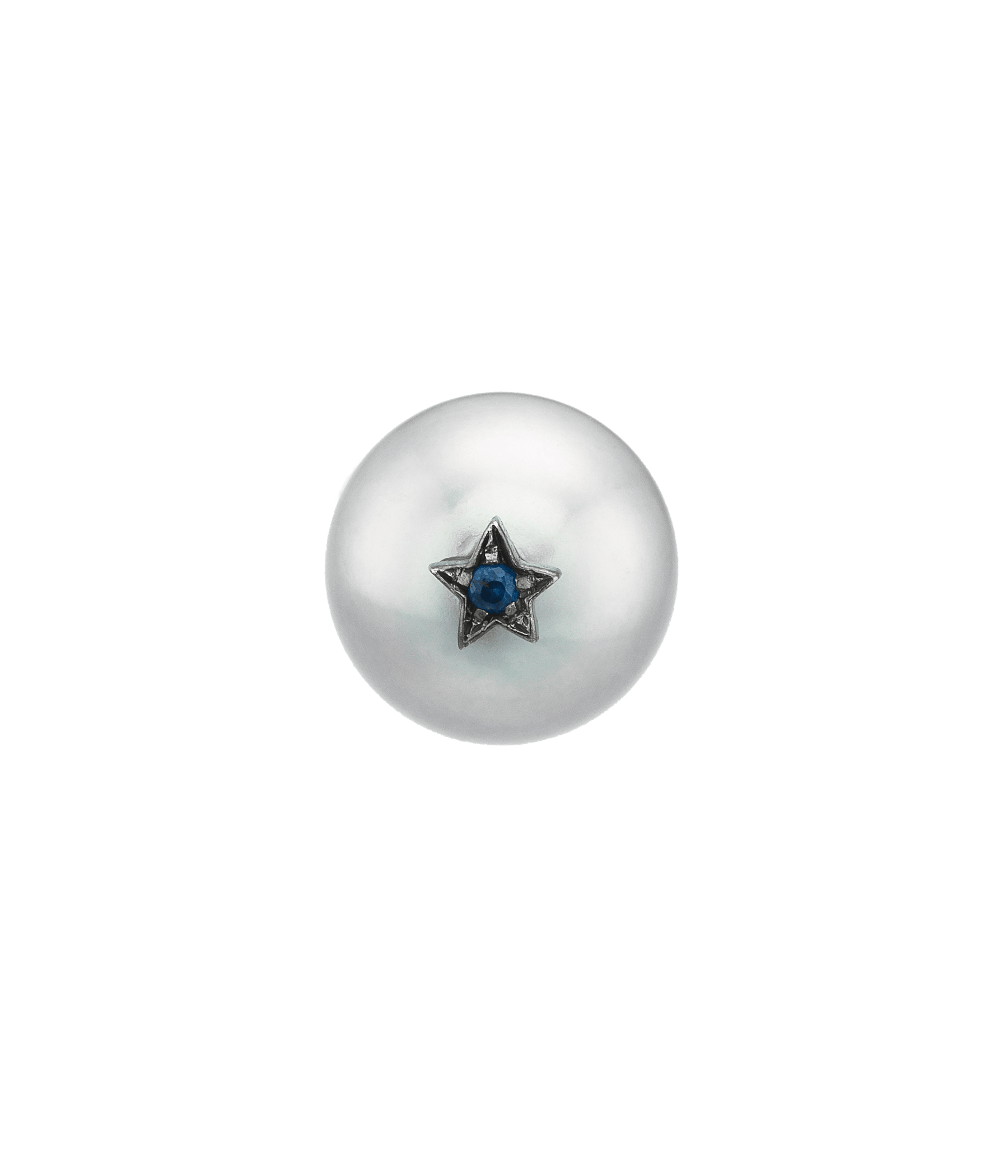 Carolina Bucci Superstellar Pearl Stud with Small Pavé Star Black Gold