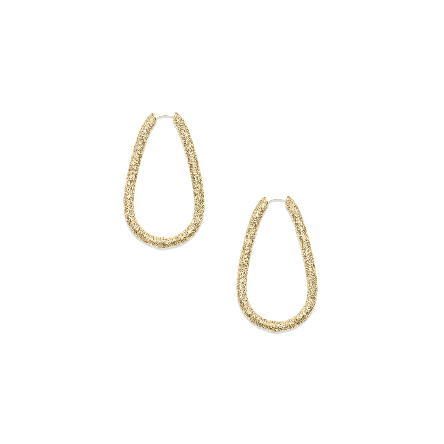 Small drop shaped hoop earrings in yellow gold