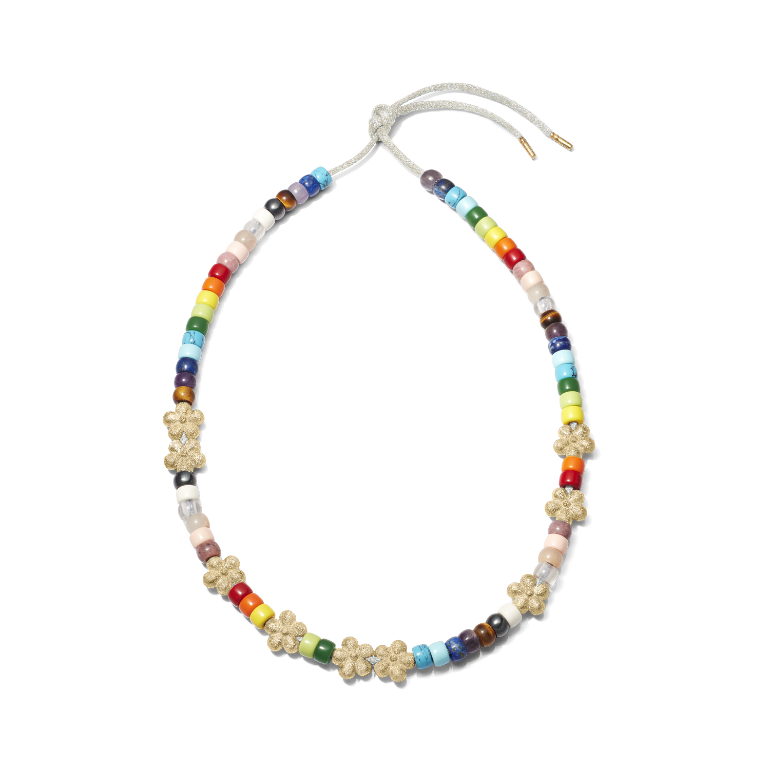 Carolina Bucci Forte Beads Rainbow Necklace with Flower Beads