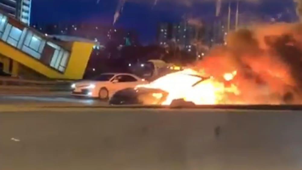 Tesla Model 3 explodes after collision