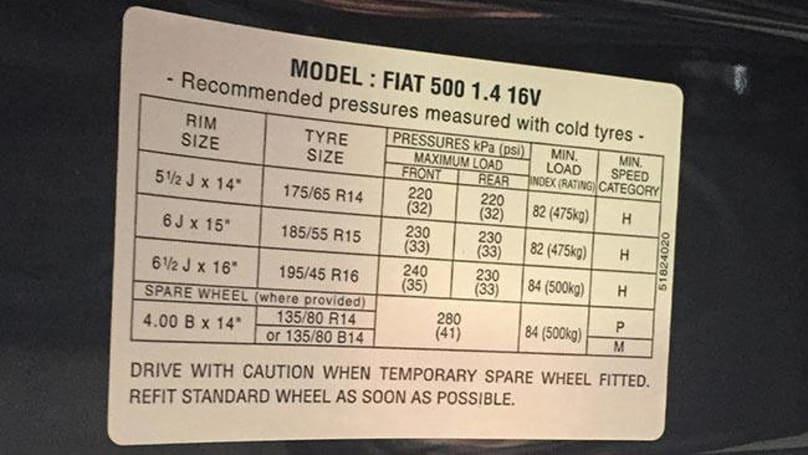 Fiat 500 Tyre Pressure Carsguide