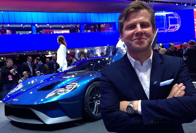 Ford Designer Todd Willing With The Ford Gt Supercar Unveiled At The  Detroit Motor Show