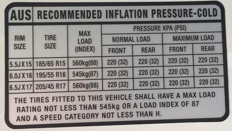 Kia Rio Tyre Pressure Carsguide