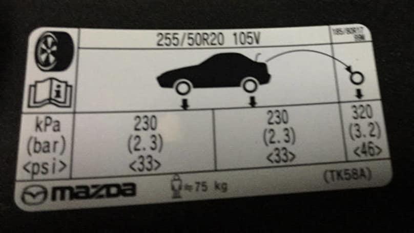 Mazda cx 9 tyre pressure