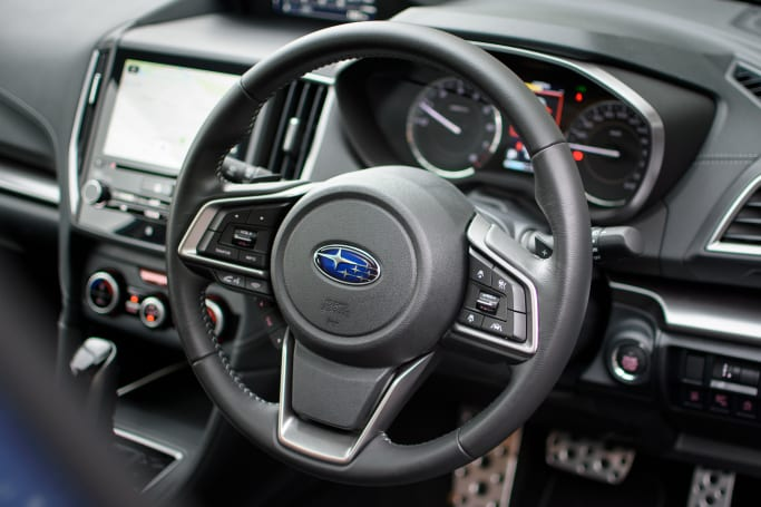A leather-trimmed steering wheel improves your drive dramatically.