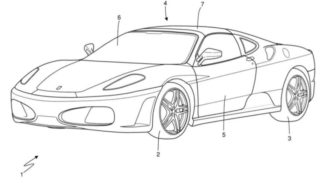 The patents show that Ferrari is working on a coupe body with a rigid, removable roof.