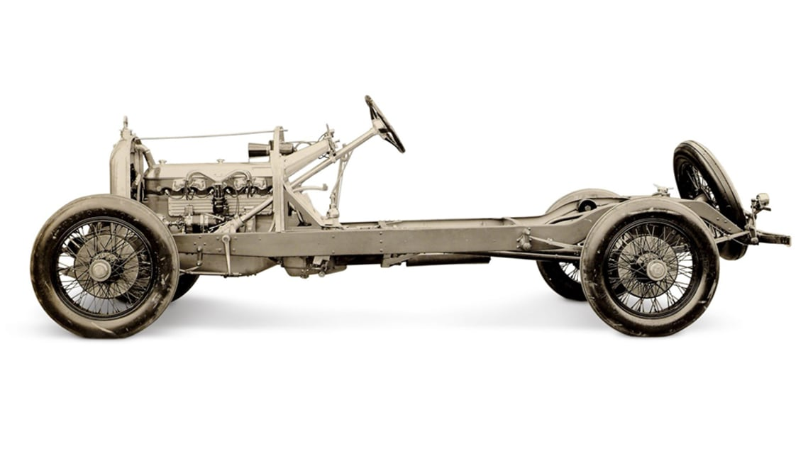 The frame of the 1921 Duesenberg Model A. (image credit: Heacock Classic)