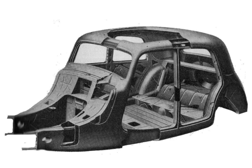The unibody for the passenger cell of the 1934 Citroen Traction Avant. The Traction Avant (which translated literally, means 'forward traction') was the first production unibody vehicle and notably also the first to feature front-wheel-drive. (image credit: Carbody Design)