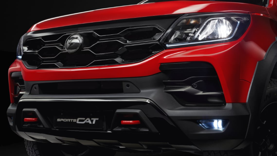 The gloss-black grille and fascia are standard on the SportsCat.