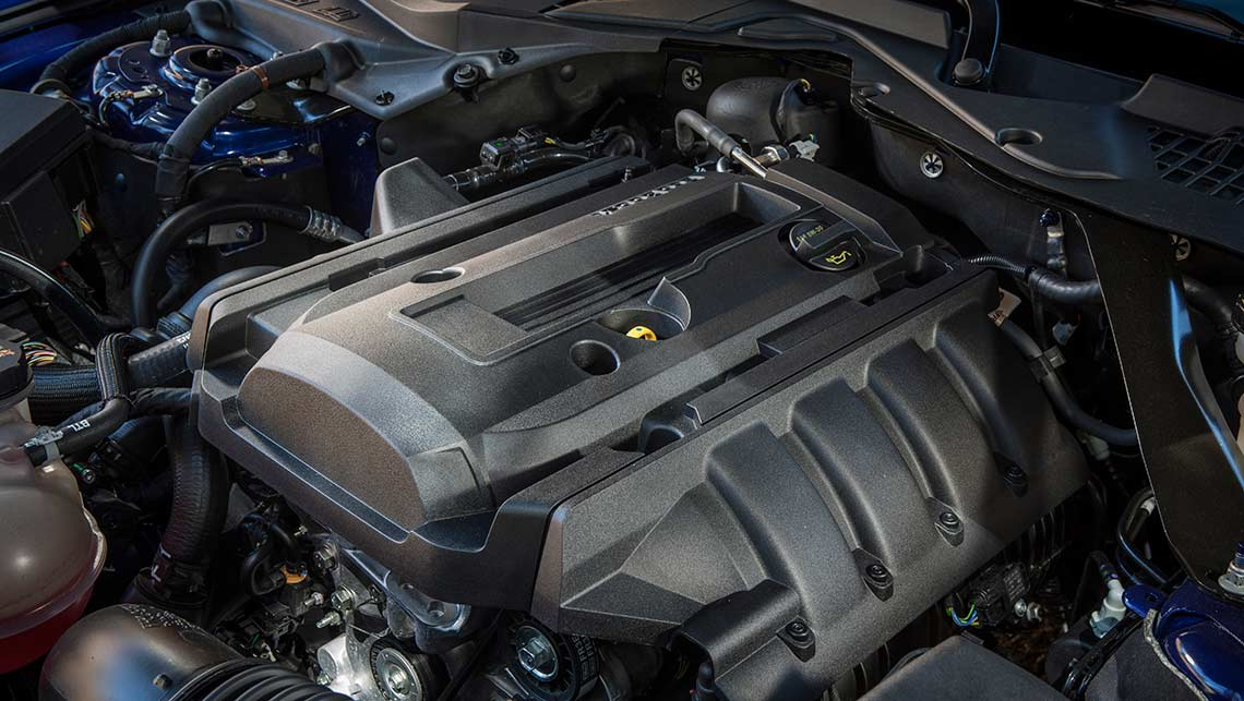 The 2015 Ford Mustang 2.3-litre EcoBoost four cylinder engine.