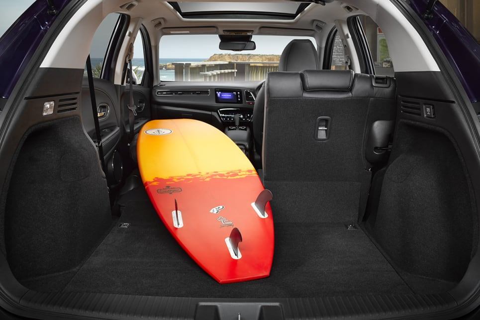 There is 437 litres of boot space available in the HR-V which grows to 1462 litres with the seats down.