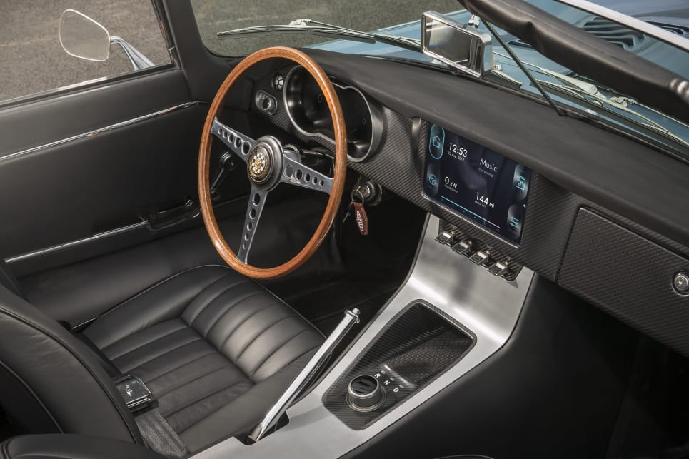 The interior contains period-correct seats and door trims disguising a modernised dashboard and centre console.