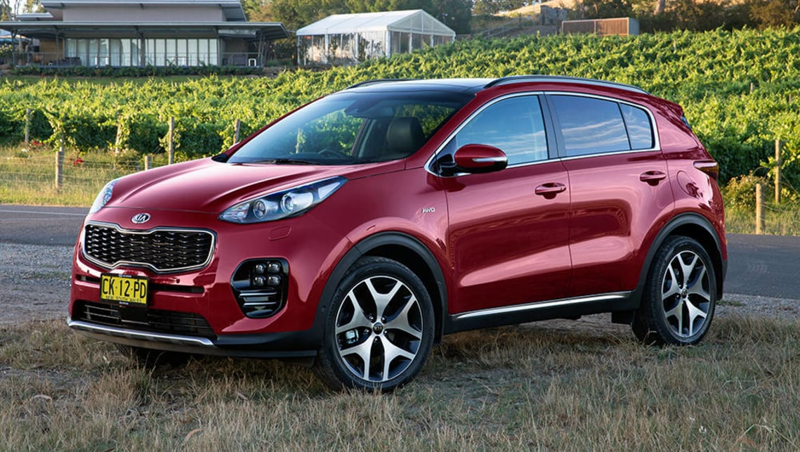 The current Kia Sportage should be able to accommodate three child seats across the back seat.