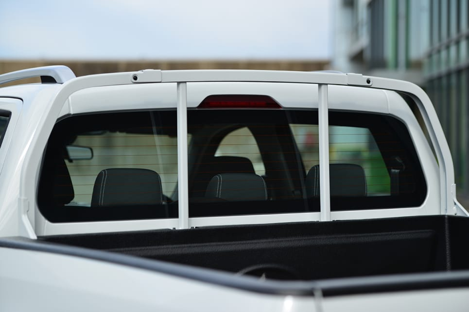 The Pro has a multi-bar headboard to protect the rear window.