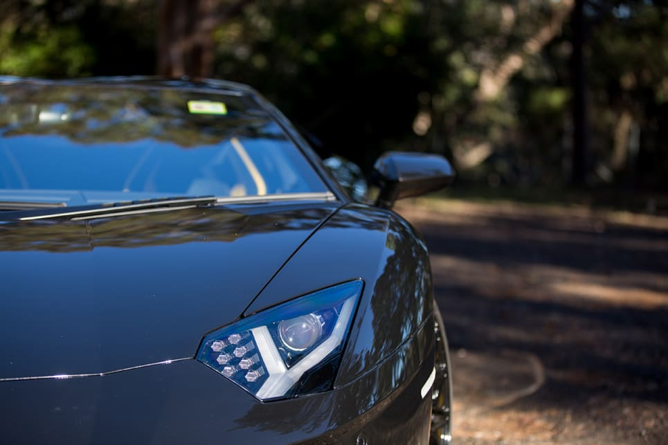 The Aventador S comes with bi-xenon headlights. (Image caption: Rhys Vanderside)