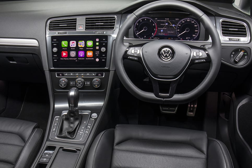 Standard kit includes dual-zone climate control air, keyless entry and start, leather-trimmed steering wheel and new 8.0-inch multimedia screen. (Volkswagen Golf Alltrack shown)