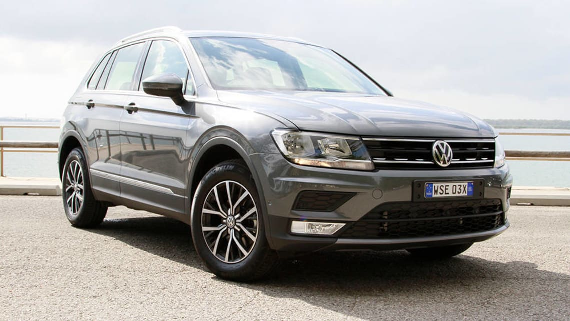 The current Volkswagen Tiguan should be able to accommodate three child seats across the back seat.
