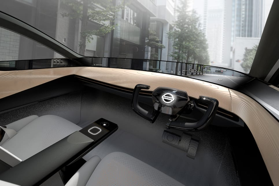 With ProPilot switched on, the concept's steering wheel will fold away.