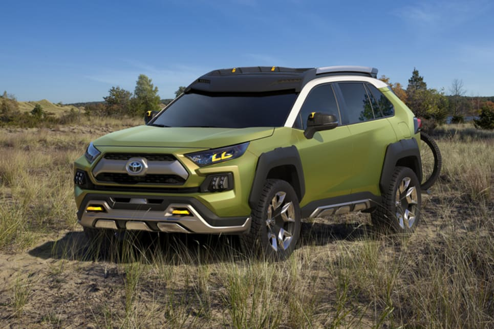 Toyota's FT-AC concept features a loud 'Prospect Green' paint hue, tough body cladding and 20-inch wheels.