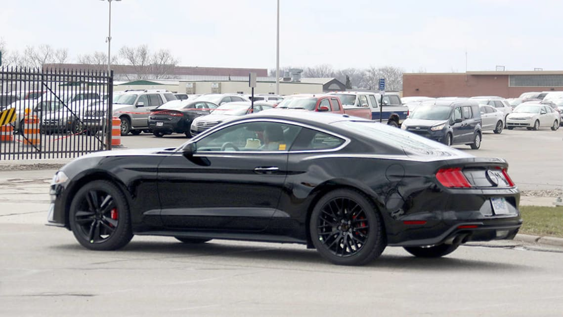 ford mustang bullitt 2018 spied testing in shadow black car news carsguide. Black Bedroom Furniture Sets. Home Design Ideas