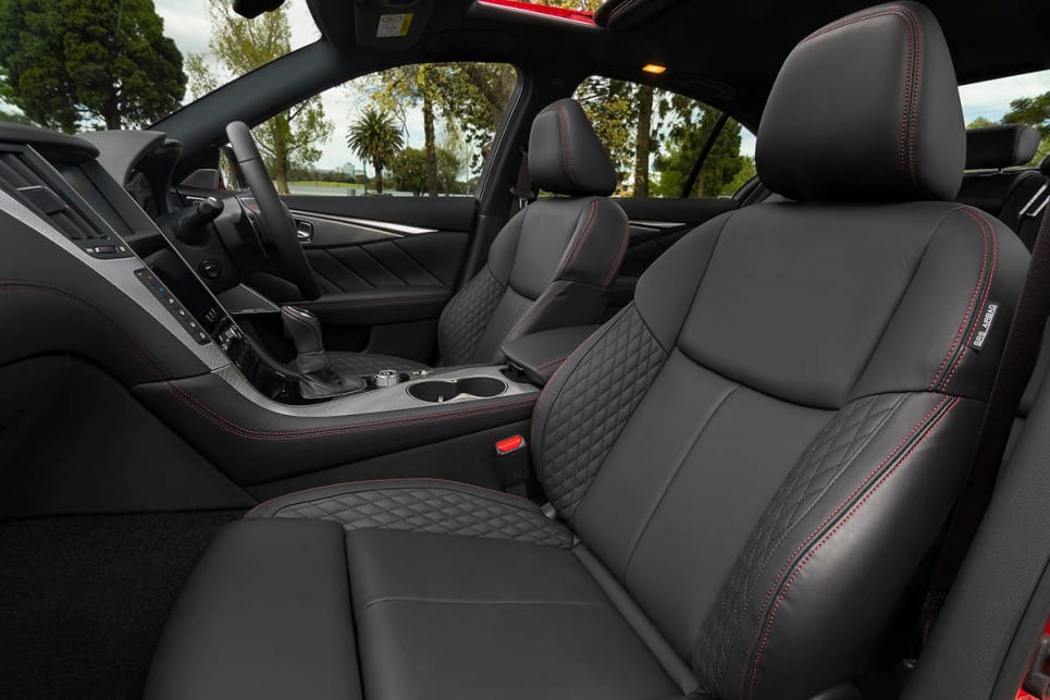The red stitched quilted leather seats are an addition that came with the update.