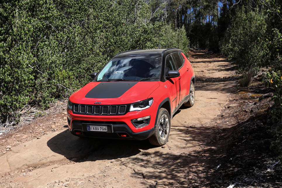 The Trailhawk has far superior grunt thanks to the extra torque from that turbo-diesel engine. (Jeep Compass Trailhawk pictured)