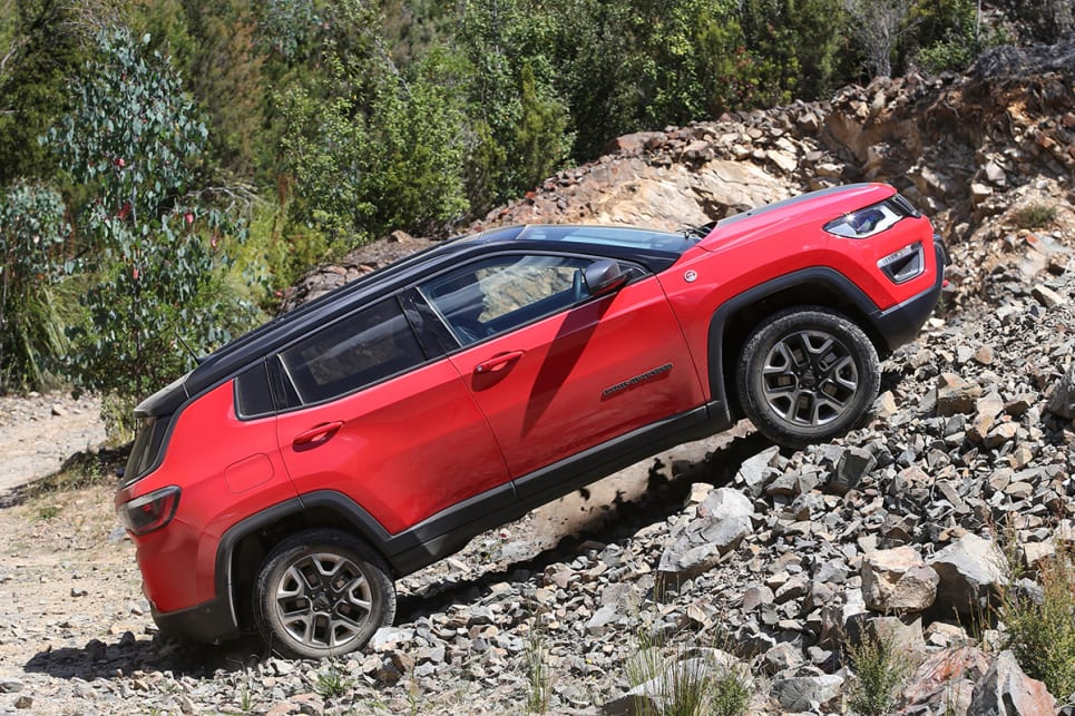 The Trailhawk's 225mm of ground clearance combined with the 30.6-degree approach and 33.1-degree departure angles are impressive. (Jeep Compass Trailhawk pictured)