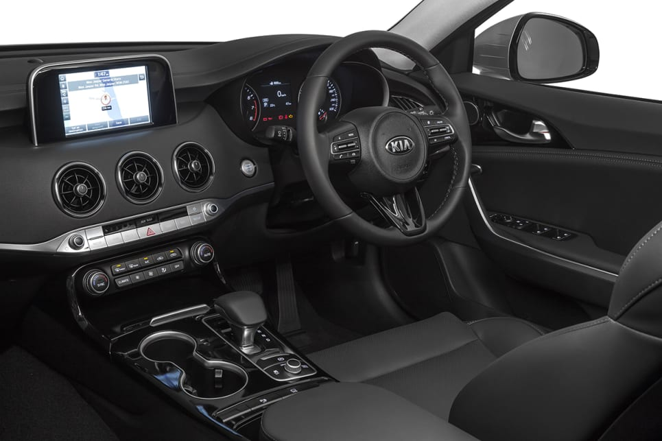 All Stingers come with Apple CarPlay and Android Auto and sat nav. (2018 Kia Stinger 200S pictured)