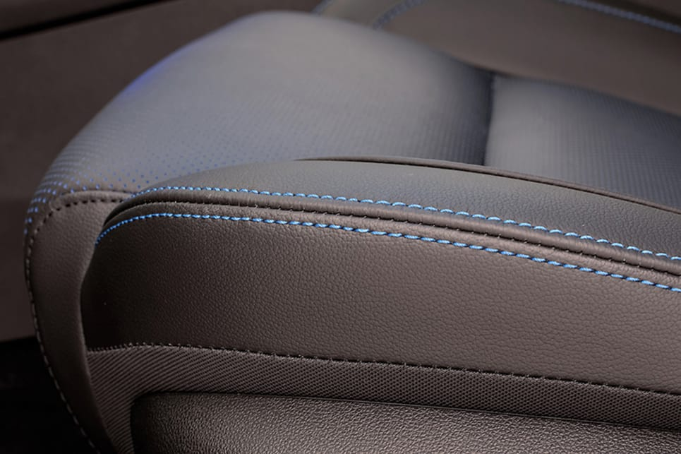 Distinguishing features on the the special-edition SUV include blue-hued stitching on blue perforated black leather seat covers.