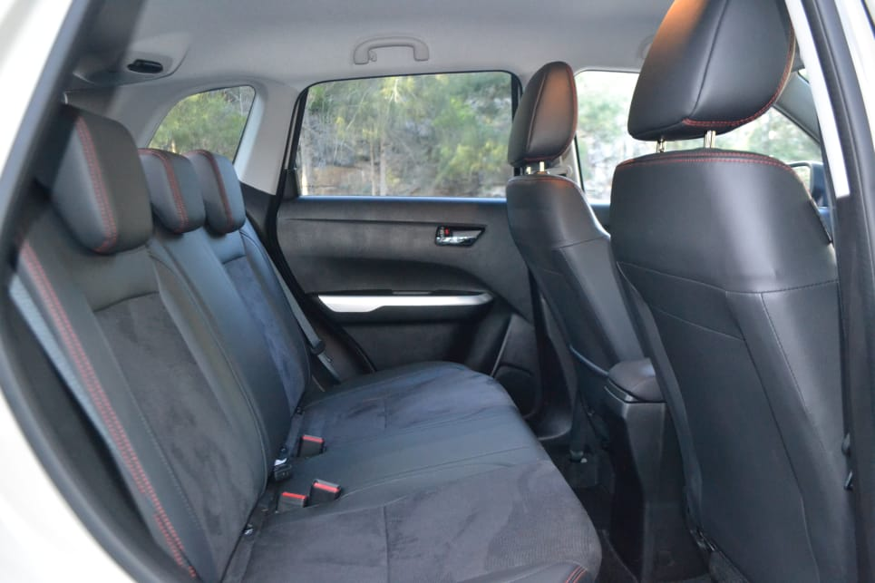With the rear seats up legroom in the back is great for the class.