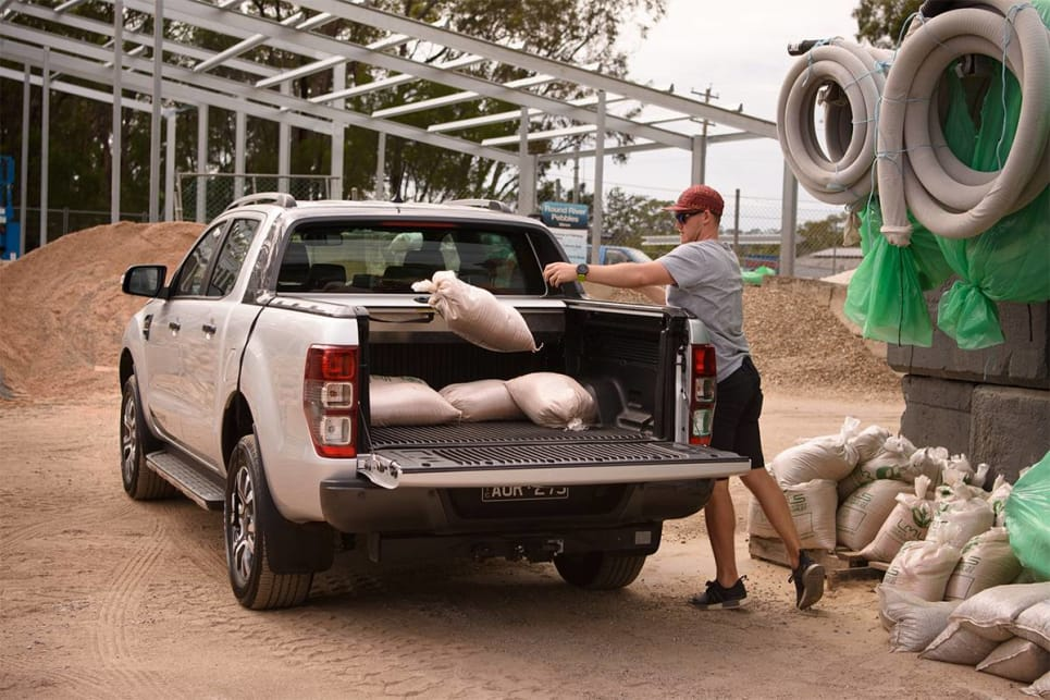 That space is impinged by the standard-fit metal roller hard top fitted to the Wildtrak.