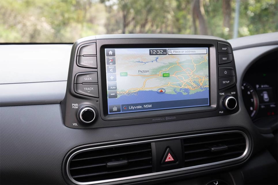 The Kona's 8.0-inch touch screen comes with Apple CarPlay and Android Auto. (image credit: Dean McCartney)