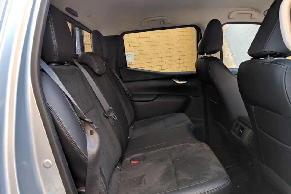 The rear seats sit noticeably higher than the front, which allows a great view out the windows for the kids.