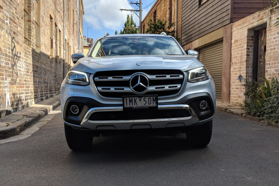 From the front, with its LED headlights and chrome exterior, it has the unmistakable look of a Mercedes SUV.