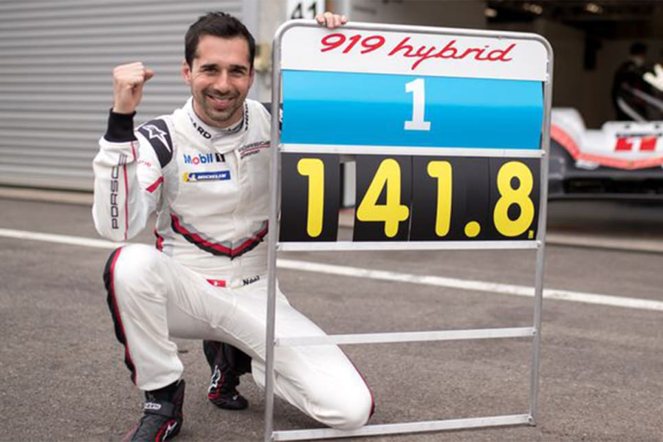 Porsche factory driver Neel Jani bested the time Hamilton set in qualifying last year at the legendary circuit. (image credit: Road and Track)