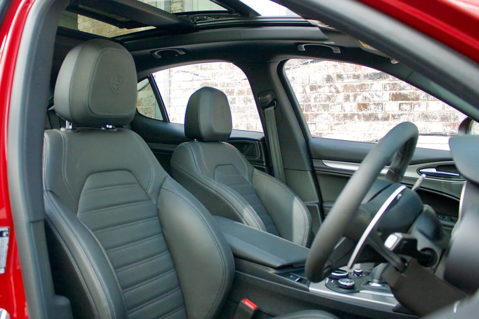 There are a few finish options to choose from inside the cabin; black on black is standard.