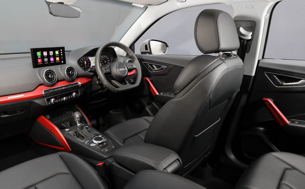 Inside, the 40 TFSI steps up to sports leather seats, red interior highlights with aluminium finishes, an auto-dimming rearview mirror and leather wheel with paddle-shifters.