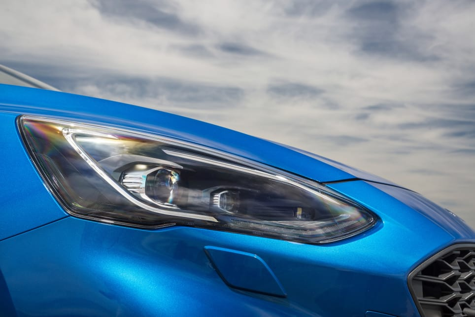 The headlights have an irregular shape, and they're helped to look more defined by the LED running lights that sit above each headlight like an eyebrow. (ST-Line variant pictured)