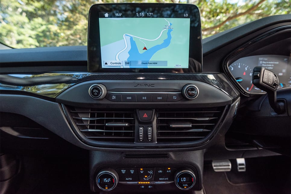 The 8.0-inch touchscreen comes with Ford's lastest version of Sync.