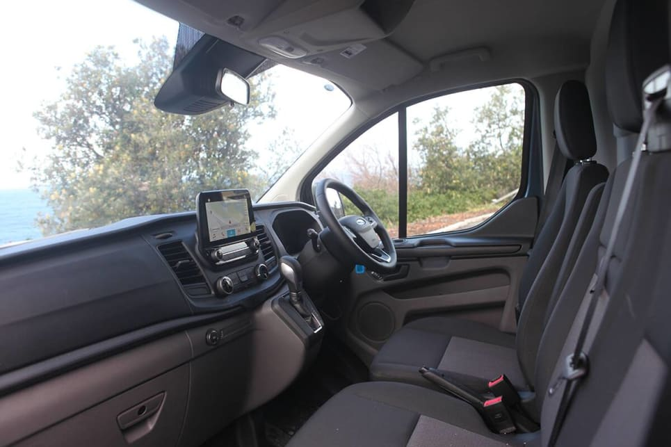 The interior of the Custom is very much a work-friendly space.