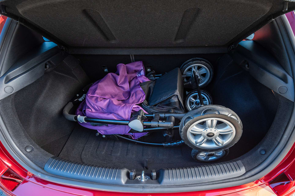 The i30's boot can comfortable fit the CarsGuide pram.