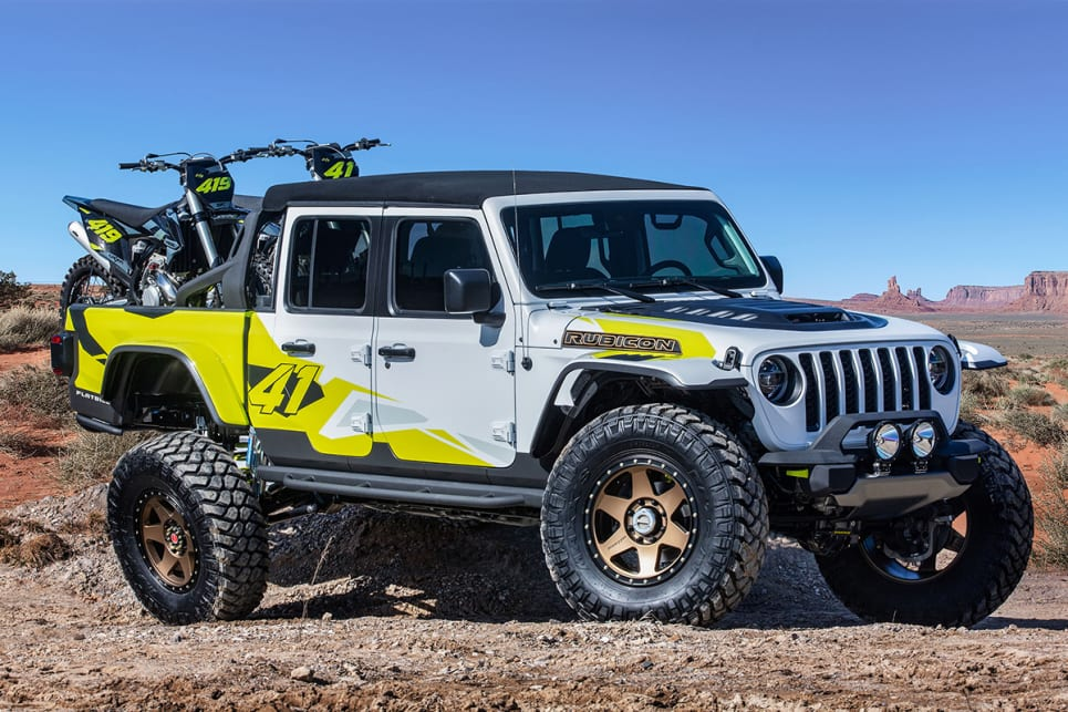 The Jeep Flatbill is named after flat-brimmed caps and the truck is designed for the people that wear them.