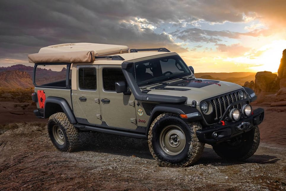 There's the Gator Green Jeep Wayout, which features a 270-degree awning, a custom made rear bar setup.