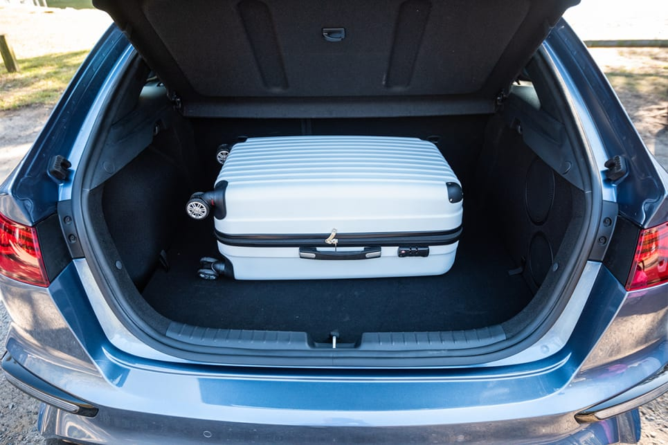 The Cerato GT easily swallowed a suitcase.