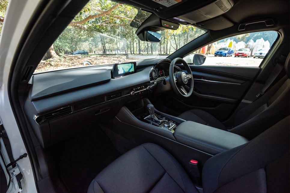 The Mazda3 has the most stylish and modern cabin of the bunch.