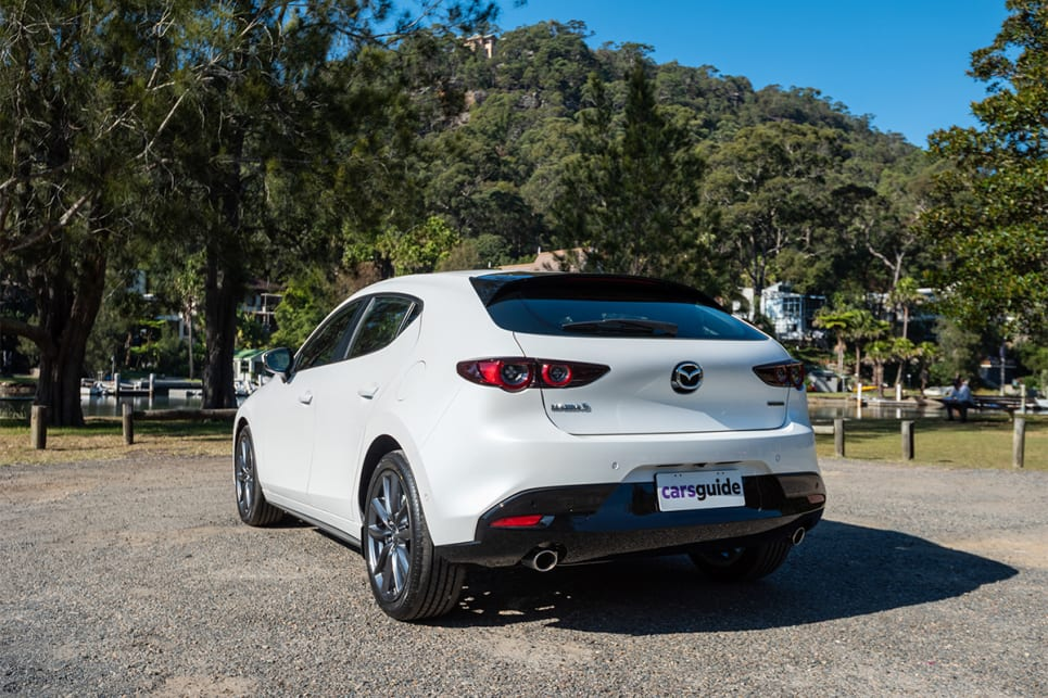 The Mazda3 was also the only car with standard paint, which surprised all of us on this test because the Snowflake White Pearl Mica looks like a premium hue.