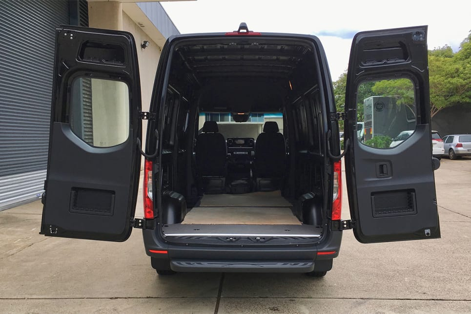 The cargo area can be accessed by a pair of rear barn doors.